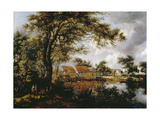 Wooded Landscape with Watermill, 1660s Giclee Print by Meindert Hobbema