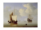 A Hoeker Alongside a Kaag at Anchor, C.1660 Giclee Print by Willem van de, the Elder Velde