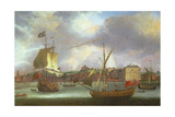 View of Greenwich with Shipping Giclee Print by Isaac Sailmaker