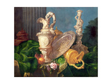 A Still Life of an Ornate Silver Ewer and a Silver Basin Giclee Print by Meiffren Conte