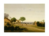 Brazilian Landscape with Buildings and Native Figures, 1643/45 Giclee Print by Frans Jansz Post