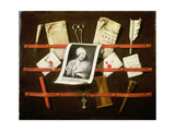 Trompe L'Oeil Letter Rack with a Print of a Woman and a Parliamentary Speech of 1704 Giclee Print by Edwaert Colyer or Collier