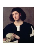 Portrait of a Young Man with a Skull, 17th Century Giclee Print by Bernardino Licinio