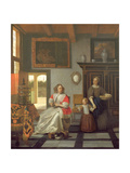 Interior with a Woman Knitting, a Serving Woman and a Child Giclee Print by Pieter de Hooch