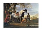 Huntsmen Halted, C.1650 Giclee Print by Aelbert Cuyp