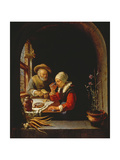 An Elderly Couple Eating Lámina giclée por Frans Van Mieris