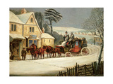 Winter Scene with the Royal Mail Halted at an Inn Giclee Print by Samuel Henry Alken
