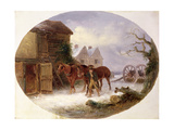 Boy Leading Horses to a Barn in the Snow Giclee Print by Thomas Smythe