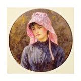 Portrait of a Girl in a Pink Bonnet Giclee Print by Helen Allingham