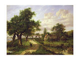 A Farmstead by a River Giclee Print by Patrick Nasmyth