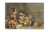 Soldiers Playing Cards in a Guardroom Lámina giclée por Gerard ter Borch or Terborch