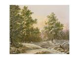 Sportsmen in a Winter Forest Giclée-Druck von Pieter Gerardus van Os