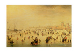 Skaters on a Frozen River, 17th Century Giclee Print by Barent Avercamp