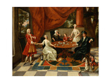 An Elegant Family Taking Tea Giclee Print by Gavin Hamilton