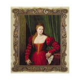 Portrait of Violante, Daughter of Palma Vecchio, 1530-35 Giclée-tryk af Paris Bordone