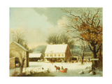 Inn Scene, Seven Miles to New Haven Giclee Print by George Henry Durrie