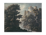 Landscape with Castle on a Rock Giclee Print by Robert Adam