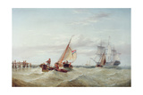 An East Indiaman and Other Shipping Off the Coast Giclee Print by Henry Redmore