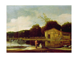 Cottage on a Canal with a Trekschuit Giclee Print by Cornelis Vroom
