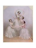 The 'Pas De Quatre': Carlotta Grisi (1819-99) Marie Taglioni (1804-84) Lucile Grahn (1819-1907)… Giclee Print by Alfred-edward Chalon