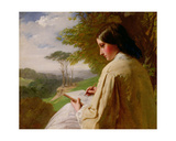 Young Lady Sketching in a Landscape Giclee Print by Henry Le Jeune
