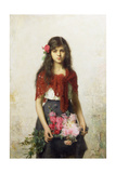 Young Girl with Blossoms Giclee Print by Alexei Alexevich Harlamoff
