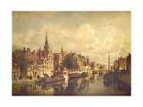 Canal Scene in a Dutch Town Giclee Print by Johannes Karel Christian Klinkenberg