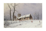 Winter Scene with Figures on a Path Near a Church Giclee Print by Nils Hans Christiansen