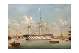 H.M.S. Britannia Lying Off Plymouth Giclee Print by Thomas Buttersworth
