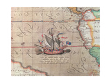 A Sailing Ship Firing its Cannon, Detail from a Map of the Pacific, China and America, 1599 Giclee Print by Abraham Ortelius