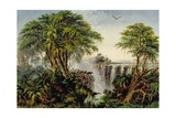 Victoria Falls with Stampeding Buffalo Giclee Print by Thomas Baines