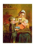 Feeding the Baby Giclee Print by William I Bromley