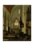 Interior of an Imaginary Protestant Gothic Church Giclee Print by Emanuel de Witte