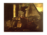 Roman Ruins with the Pyramid Tomb of Caius Cestius Giclee Print by Giovanni Paolo Panini