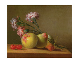 Carnations, Pears, Cherries and Apple on a Table Giclée-Druck von Anne Vallayer-coster
