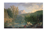 River Scene with Bathers, 18th Century Giclée-Druck von Claude Joseph Vernet