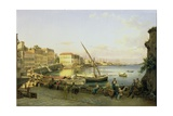 The Santa Lucia Embankment, Naples, C.1820 Giclee Print by Silvestr Fedosievich Shchedrin
