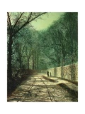 Tree Shadows on the Park Wall, Roundhay, Leeds, 1872 Giclee Print by John Atkinson Grimshaw