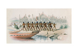 War-Dance by Maori Warriors before the Great Pa (Village) of Ohinemutu at the Rotorua Lakes from… Giclee Print by George French Angas