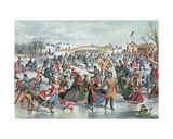 Winter on the Skating Pond in Central Park, 1862 Giclee Print by Charles Parsons