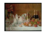 Still Life with Fruit and Champagne Bottles Giclee Print by Charles Couche