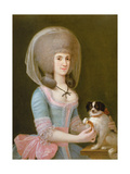 Portrait of Dona Maria Teresa Apodaca De Sisma Giving a Titbit to Her Dog Giclee Print by Augustin Esteve