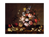 Still Life of a Vase of Flowers with Shells Giclee Print by Balthasar van der Ast