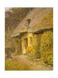 A Child at the Doorway of a Thatched Cottage Giclee Print by Helen Allingham
