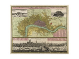 Map and Prospect of London, C.1710 Giclee Print by Johann Baptista Homann