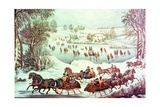 Central Park, New York, Winter, the Skating Pond Giclee Print by  Currier & Ives