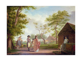 Country Landscape with Figures Giclee Print by Johan Prey