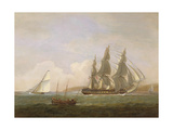 A Frigate Running under Full Sail, with a Cutter and a Lugger Off the West Country Giclee Print by Thomas Luny