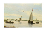 Sailing Boats on a River, 1640-49 Giclee Print by Salomon van Ruisdael or Ruysdael