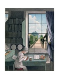 In the Library, St. James' Square, C.1805-06 Giclee Print by Thomas Pole